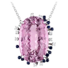 14 Karat Gold 130 Carat Kunzite Diamond Sapphire Necklace Pendant