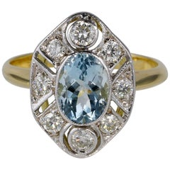 Gorgeous 1.30 Carat Natural Aquamarine .60 Carat Diamond Ballerina Ring