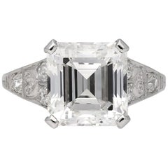 Art Deco Asscher Cut Diamond Ring, circa 1920