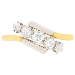 Vintage Five-Stone Old Cut Diamond Crossover Ring, circa 1930s
