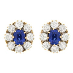 Edwardian Sapphire and Diamond Cluster Earrings, circa 1910