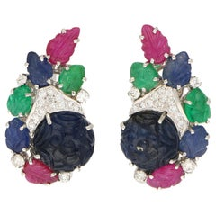Carved Gems 6.33 Carat Sapphire, Ruby, Emerald, Diamond Earrings, 18 Karat Gold