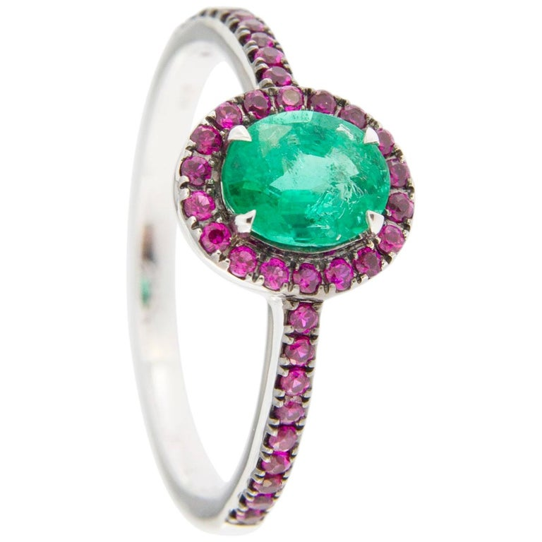 Jona Emerald and Ruby 18 Karat White Gold Solitaire Ring