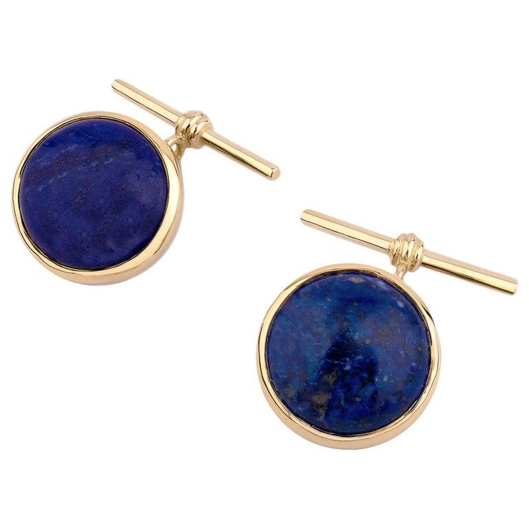 18 Karat Yellow Gold Lapis Lazuli Chain Cufflinks For Sale