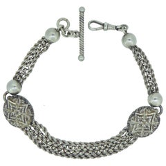 Antique Victorian Silver Bracelet Large Chased Oval Links, Toggle Bar and Swivel