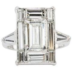 Platinum 1.5 Carat Baguette Diamond 3.25 Carat Engagement Ring