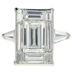 Platinum 1.7 Carat Center Baguette Diamond 3.45 Carats Total Engagement Ring