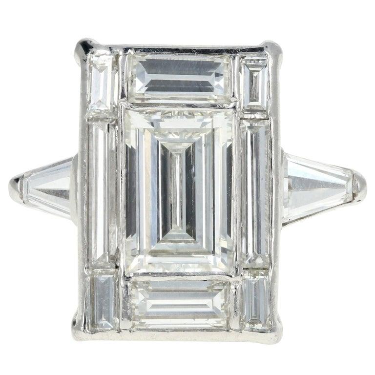Platinum 1.5 Carat Baguette Diamond 3.25 Carat Engagement Ring For Sale