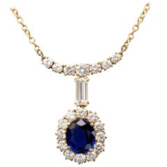 Sapphire and Diamonds 18 Karat Gold Pendant Necklace