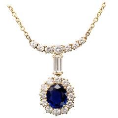 Sapphire and Diamonds 18 Karat Gold Pendant Necklace