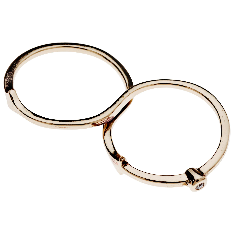 White Diamond Gold Two Finger Ring J Dauphin