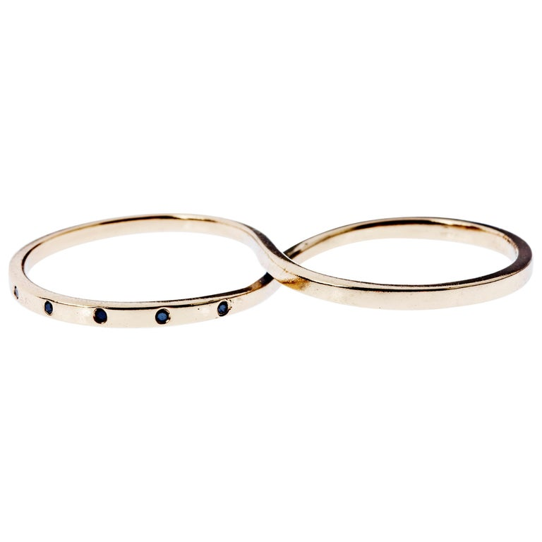 Black Diamond Gold Two Finger Ring Infinity J Dauphin For Sale