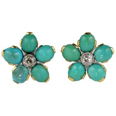 Genuine Persian Turquoise .80 Carat Diamond Rare Floret Stud Earrings