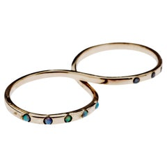 Opal Black Diamond Gold Two Finger Ring J Dauphin