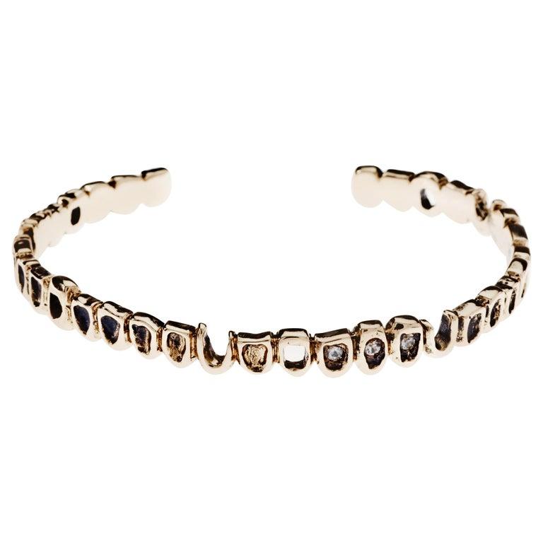 White Diamond Teeth Arm Bangle Cuff Bracelet Bronze J Dauphin For Sale