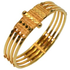 22 Karat Yellow Gold Quad Band Bangle Bracelet