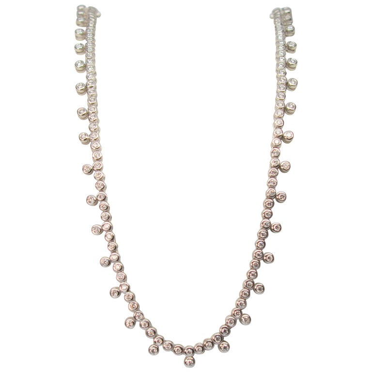 Diamond & 14K White Gold Collar Necklace For Sale