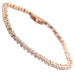 Diamond Tennis Bracelet, 1.98 Carat 14 Karat Yellow Gold