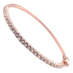 14 Karat Rose Gold Diamond Bangle