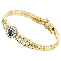 Retro Yellow and White Gold Natural Sapphire and Diamond Bracelet