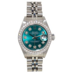 Rolex 79240 Datejust Turquoise Diamond Dial and Bezel Ladies Watch