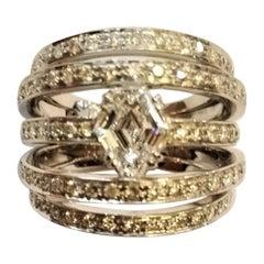 Fancy Cut 1.06 Carat Diamond 1.40 Carat Diamonds White Gold Cocktail Ring