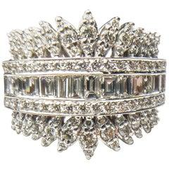 Diamond Cluster White Gold cocktail Ring