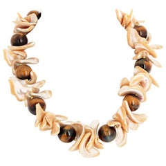 Gemjunky Whimsical Natural Golden Cream Color Shell and Tiger Eye Necklace