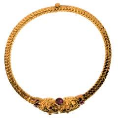 22K Yellow Gold & Ruby Serpent Bracelet