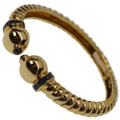 18K Yellow Gold & Sapphire Hinged Cuff Bracelet