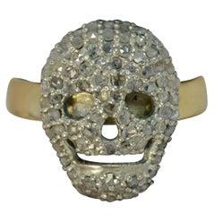 Vintage 18 Carat Gold and Rose Cut Diamond Skull Ring