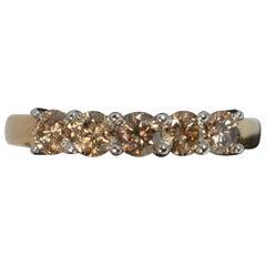 1.00 Carat Champagne Diamond 9 Carat Gold Five-Stone Ring