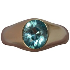 Late Victorian Large Blue Zircon 9 Carat Rose Gold Gypsy Ring