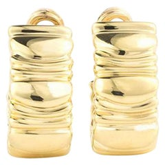 Cartier 18 Karat Yellow Gold Baignoire C Clip on Earrings