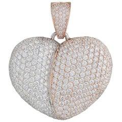 Jacob & Co 14 Karat White and Rose Gold Diamond Heart Pendant 5.25 Carat