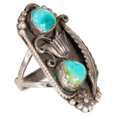 Navajo Battle Mountain Turquoise Ring