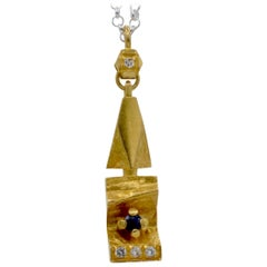 Brutalist Gold Pendant Sapphires Diamonds 18K Yellow Gold Finland