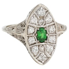 Antique Deco Diamond Ring Navette Emerald Vintage 14 Karat White Gold Filigree