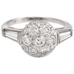 Vintage Diamond Cluster Ring Platinum Mixed Cuts Estate Fine Jewelry