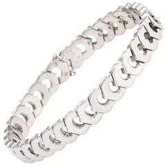 Vintage C de Cartier Link Bracelet 18 Karat Gold Estate Fine Jewelry Signed
