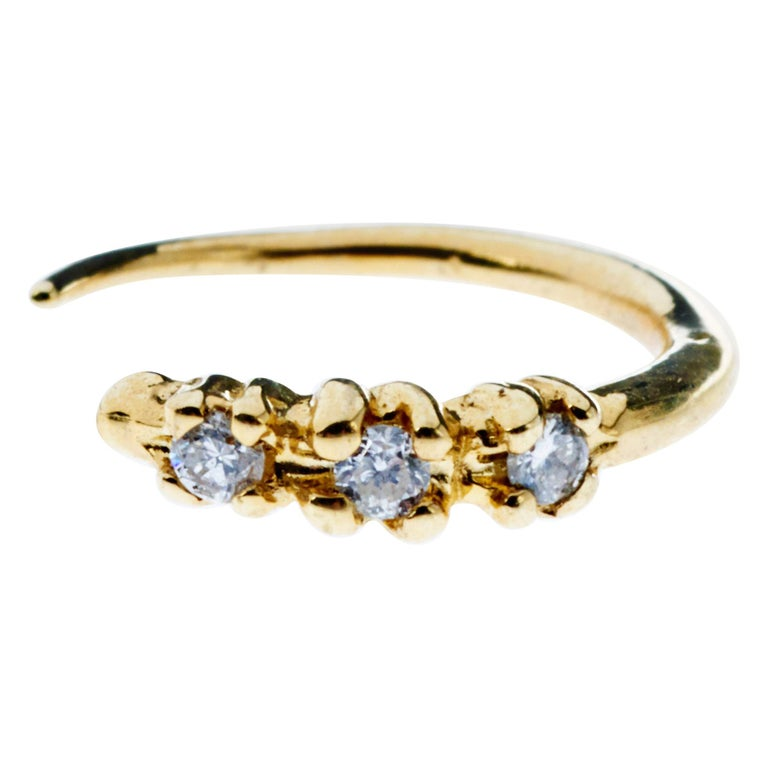 White Diamond Earring Gold  Hook J Dauphin For Sale