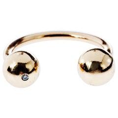 White Diamond Gold Ring Bubble Ball J Dauphin
