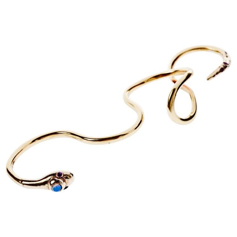 Ruby White Diamond Gold Four Finger Snake Ring J Dauphin For Sale