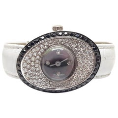 4.80 Carat 18 Karat White Gold Black Diamond Watch