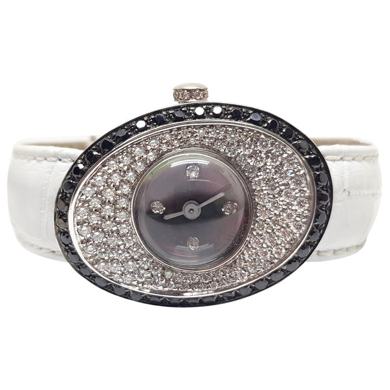 4.80 Carat 18 Karat White Gold Black Diamond Watch For Sale