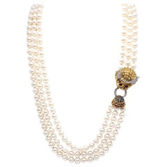 Yellow Gold Ruby Sapphire Diamond Akoya Pearl Asian Chinese Dragon Necklace