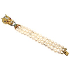 Gold Ruby Sapphire Emerald Diamond Akoya Pearl Asian Chinese Dragon Necklace
