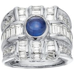 Diamond & sapphire ring in 18K white gold, 3 Row wide band chunky statement ring