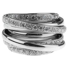 Round Brilliant Cut Diamonds Wide Band Cocktail Ring in 18K White Gold