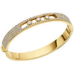 Yessayan Happy Diamond Bangle in 18 Carat Yellow Gold, Movable Center Diamonds